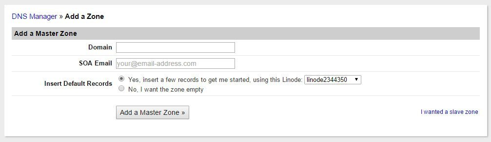 Add DNS Zone on Linode