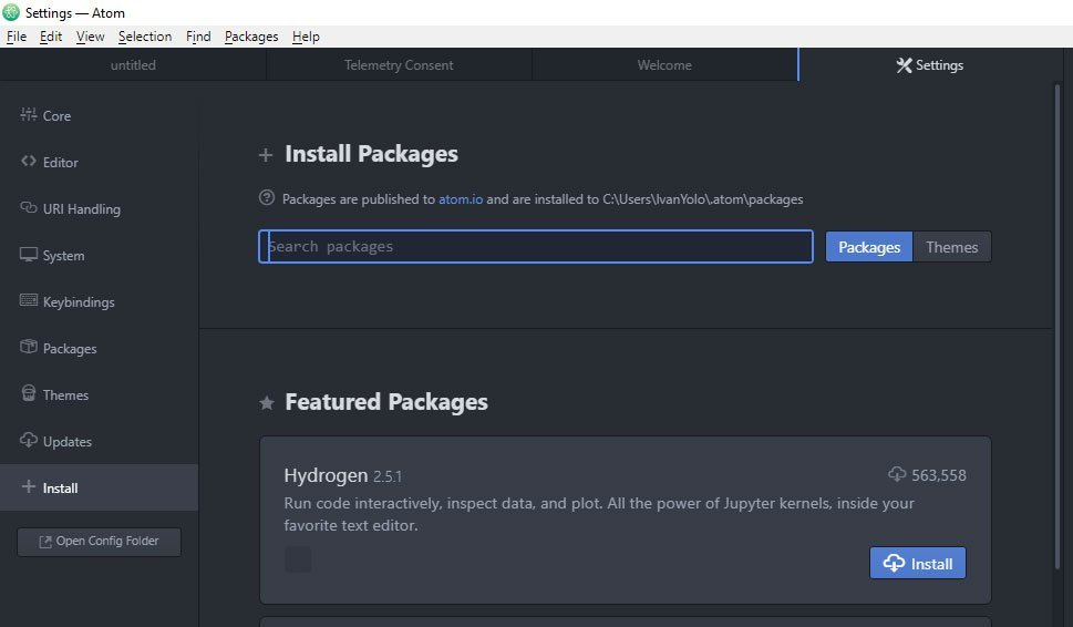 Install Atom Package