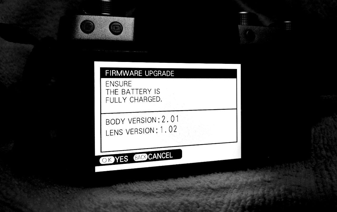 X-T100 Firmware Update Menu
