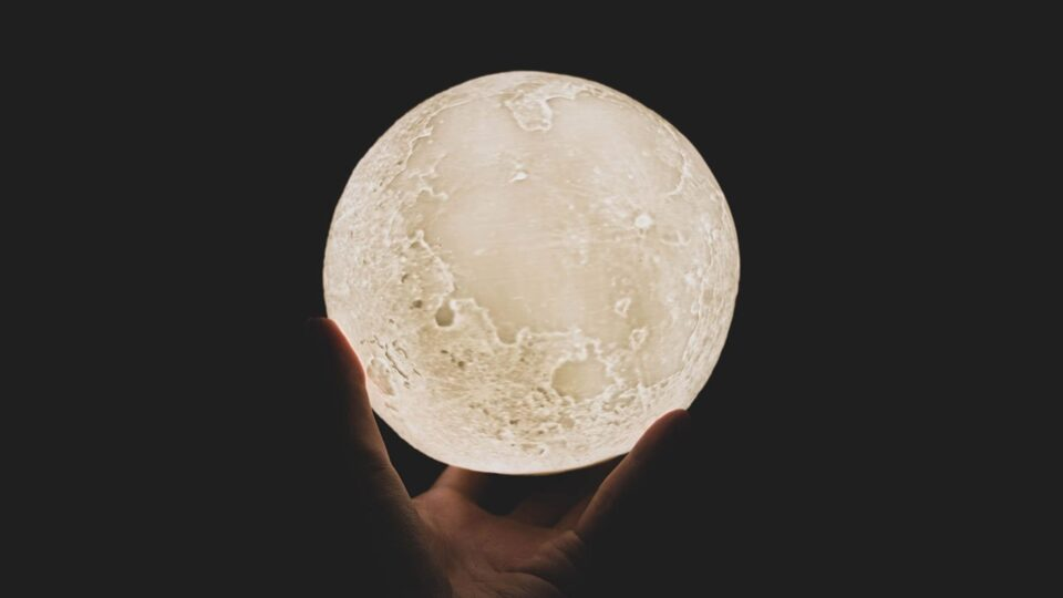 3D Yellow Moon Lamp
