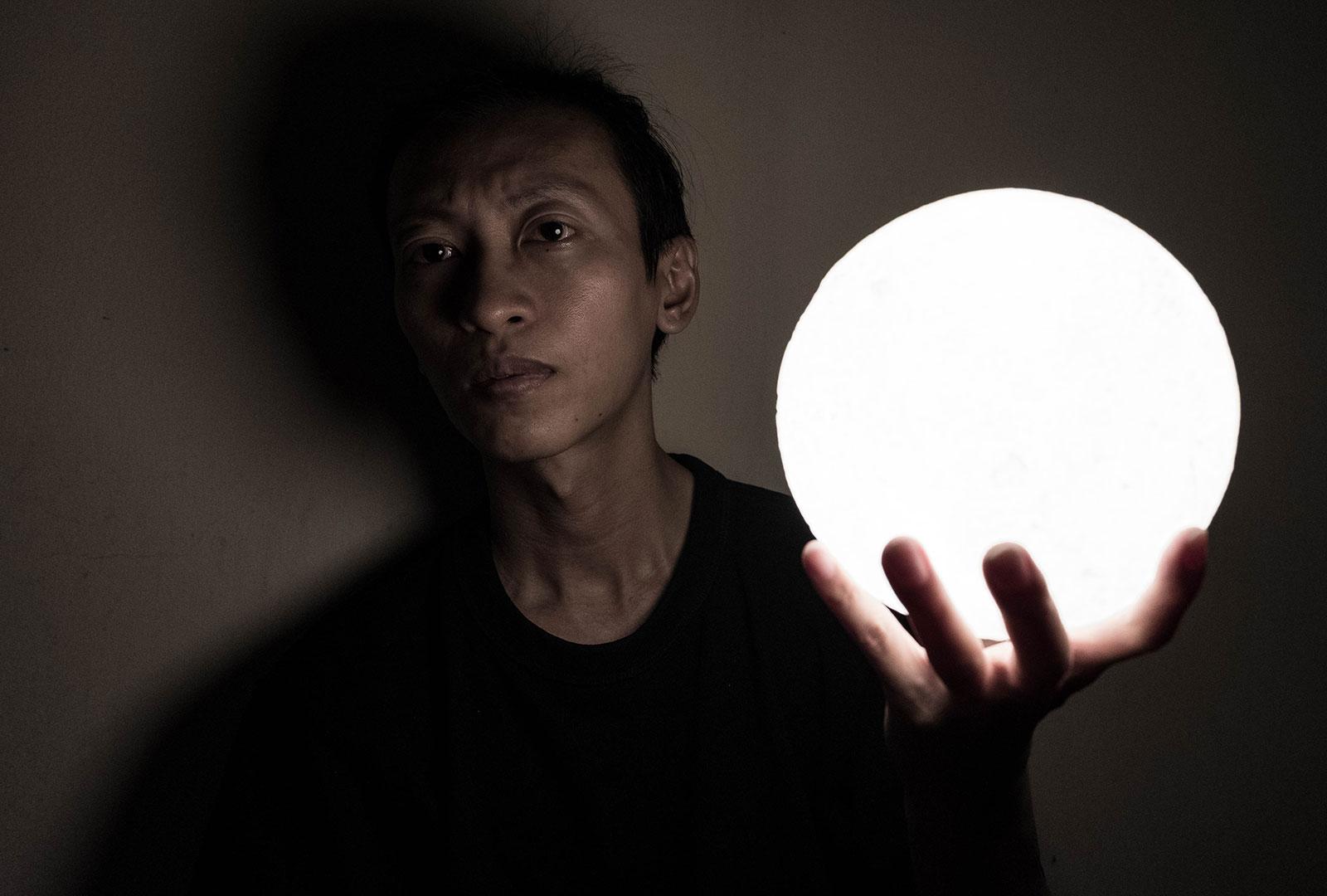 LED Moon Lamp Photography