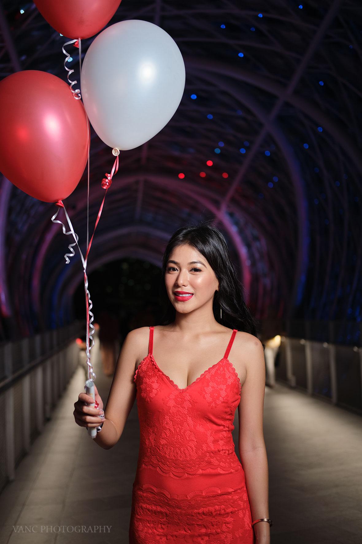 night portrait girl in red dress